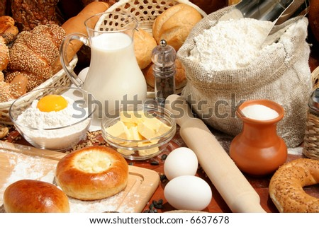 Bread and ingredients, background - stock photo