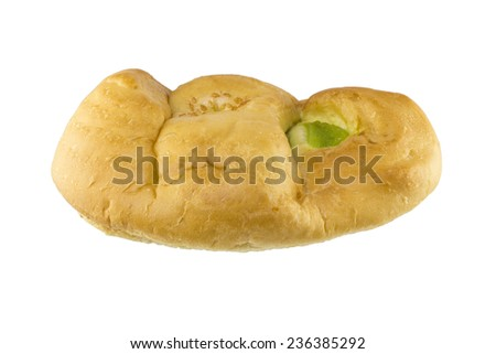 bread and pandan custard on white background