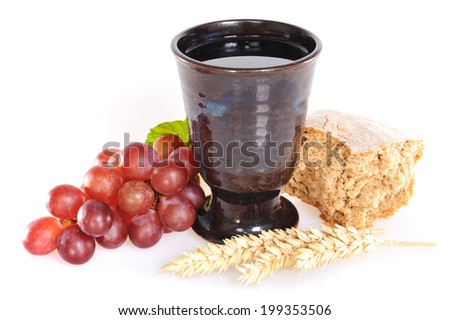 Bread and wine for sacrament or communion - stock photo