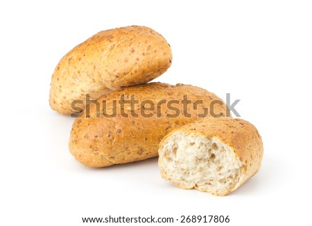 Bread buns isolated on white background - stock photo