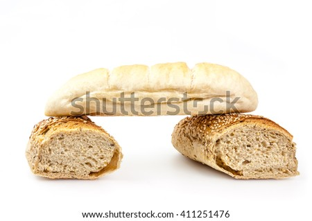 Bread composition on white background