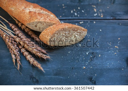 Bread composition with wheats - stock photo