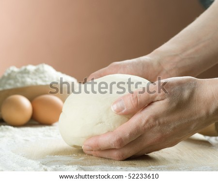 Bread Cooking.Dough - stock photo