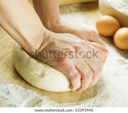 Bread Cooking.Dough - stock photo