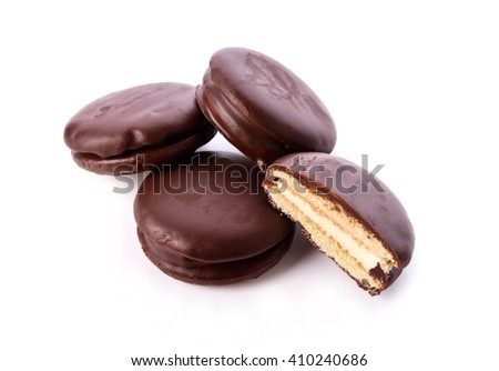 Bread Cream Filling Coated chocolate isolated on white background .