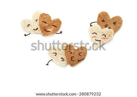 Bread cute face emotion be happy Lover relationship symbol of love isolated on white background - stock photo