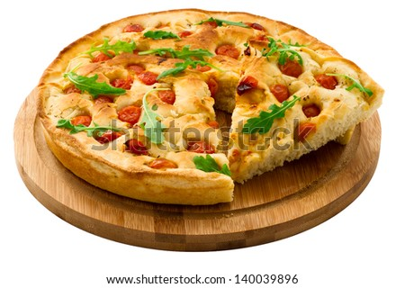 Bread dough Focaccia on wooden board isolated on white background. Italian Food