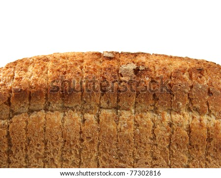 Bread from rye and wheat flour texture close-up with copy space