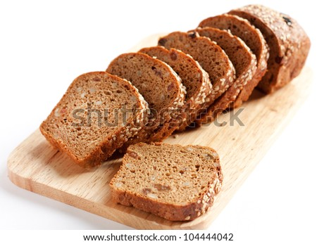 Bread from wheat flour, whole grain bread. Cut into pieces - stock photo