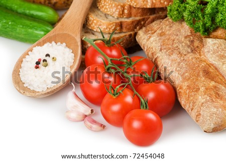Bread, garlic, vegetables and spices - stock photo