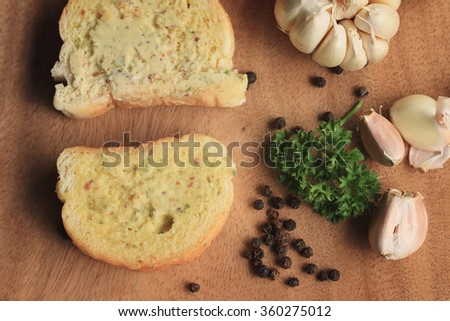 Bread garlic with butter - stock photo