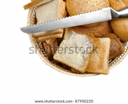Bread in a basket - stock photo