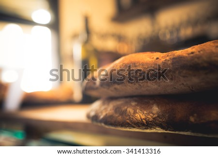 Bread in a sandwich shop in Florence. - stock photo
