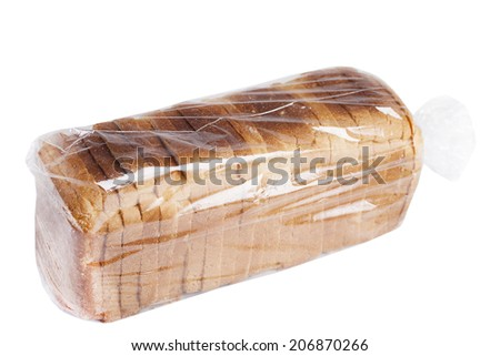 Bread in plastic bag isolated on white background. - stock photo