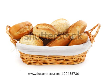 bread in wicker basket isolated on white - stock photo