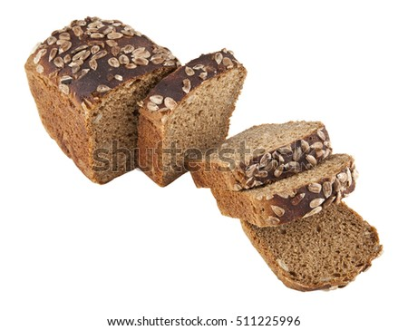 bread isolated on white background closeup