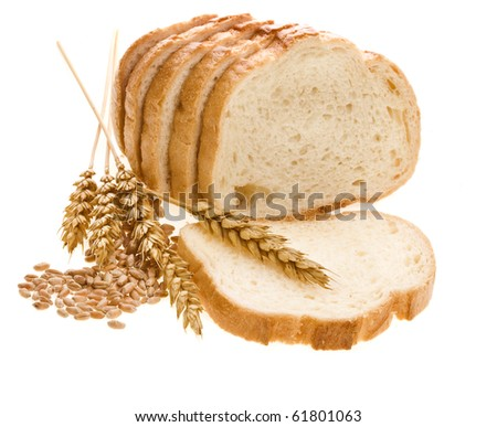 bread loaf and wheat  ears isolated over white background - stock photo
