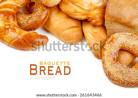 Bread, loaf, baguette, bagel on a white background - stock photo