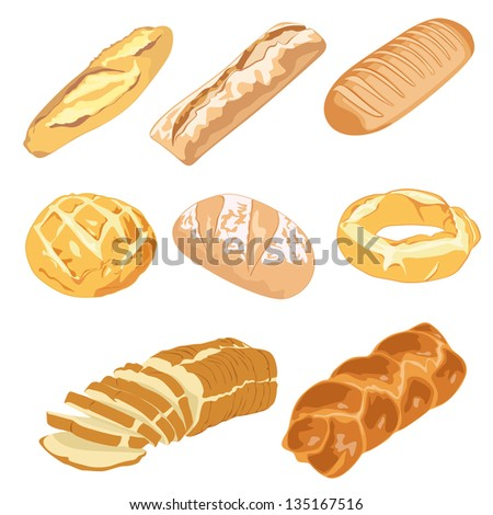 Bread loaves and bagels. Also available in vector.