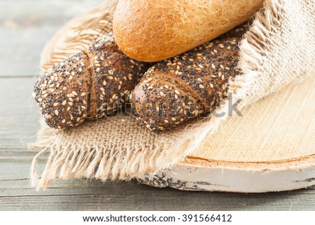 bread on a table, selective focus