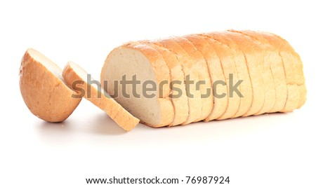 bread on a white background. - stock photo