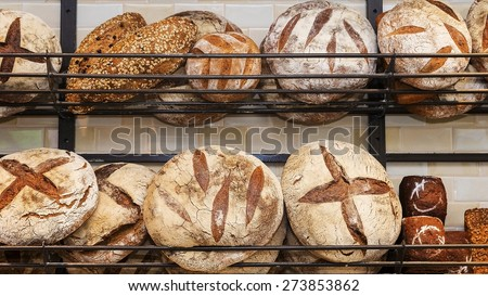 bread on the shelves - stock photo