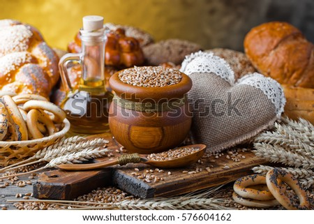 bread on the table and the old background