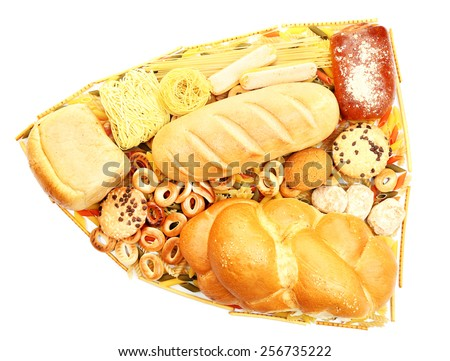 Bread, pasta and bakery products isolated on white - stock photo