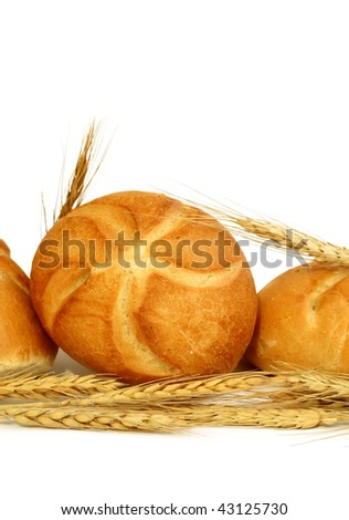 bread rolls and ears isolated on white background