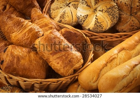 Bread rolls and puff pastry