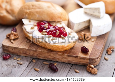 bread served with camembert and cranberry - stock photo