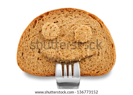 Bread slice as smiling face with fork in your mouth on white - stock photo