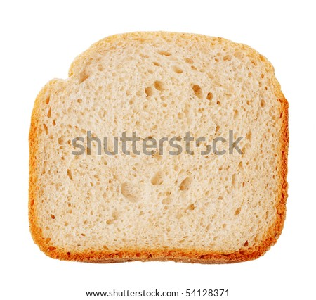 Bread slice with golden crust isolated on white