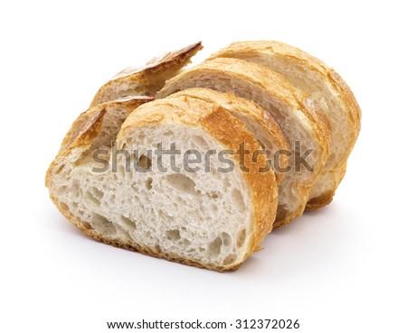 Bread slices. Traditional Turkish bread (EKMEK) - stock photo