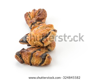 bread stick with chocolate on white background