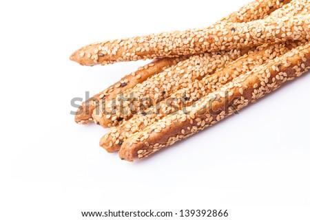 Bread sticks on white background - stock photo