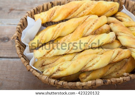 Bread sticks with penaut - stock photo