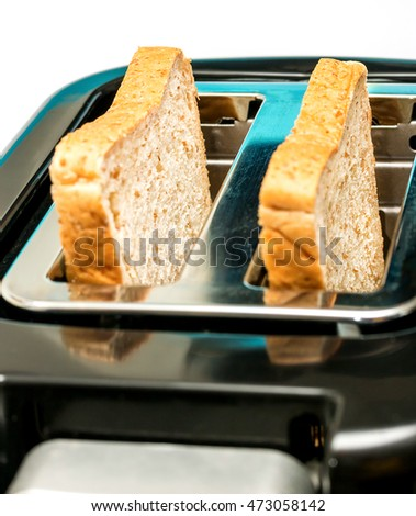 Bread Toaster Representing Meal Time And Food