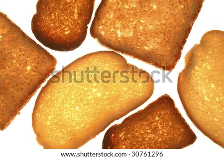 Bread varied slices on transparent white background - stock photo
