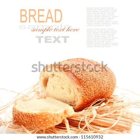 Bread with a sesame isolated on white - stock photo