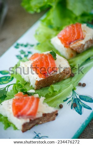 bread with cheese and salted salmon with lettuce - stock photo