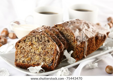 bread with coffee - stock photo