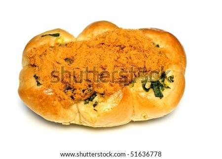 bread with fried pork fiber - stock photo