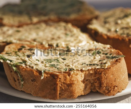 bread with garlic butter, homemade food - stock photo