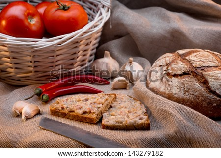 bread with lard - stock photo