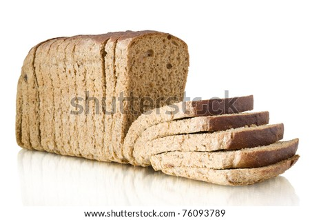 bread with reflection isolated on white