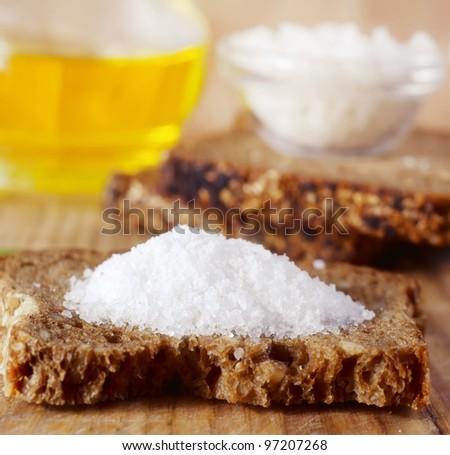 Bread with salt - stock photo