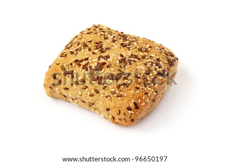 Bread with sesame seeds isolated on white background. - stock photo