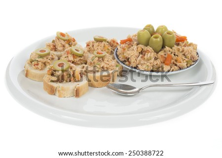 Bread with tuna salad topping - stock photo
