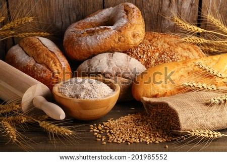 Bread with wheat grains - stock photo